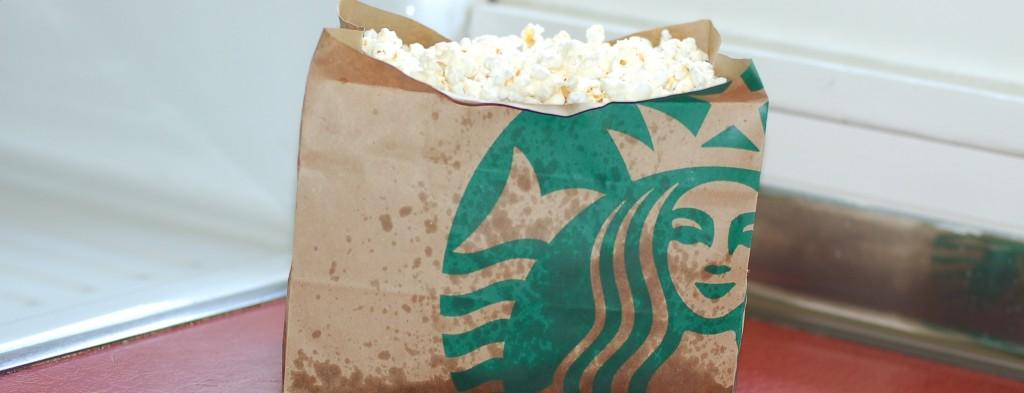 Brown bag microwavable popcorn, in an unlikely bag