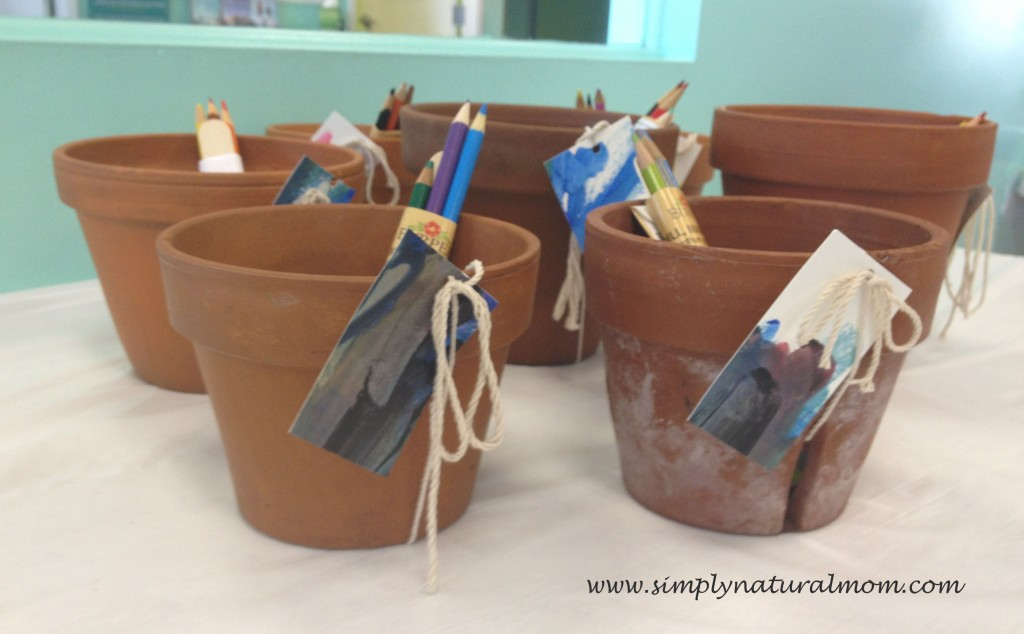 Easy seed pack party gift using pots from home