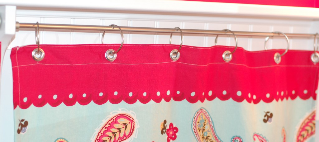 Sew a shower curtain into a window curtain