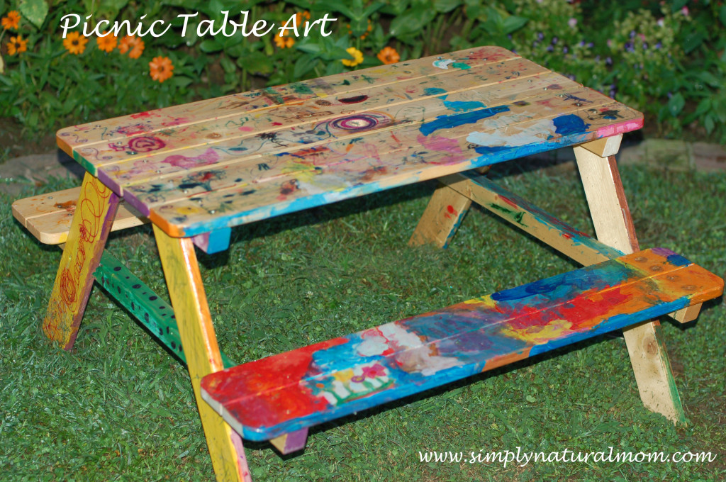 Picnic Table Art – such a fun kid art project!